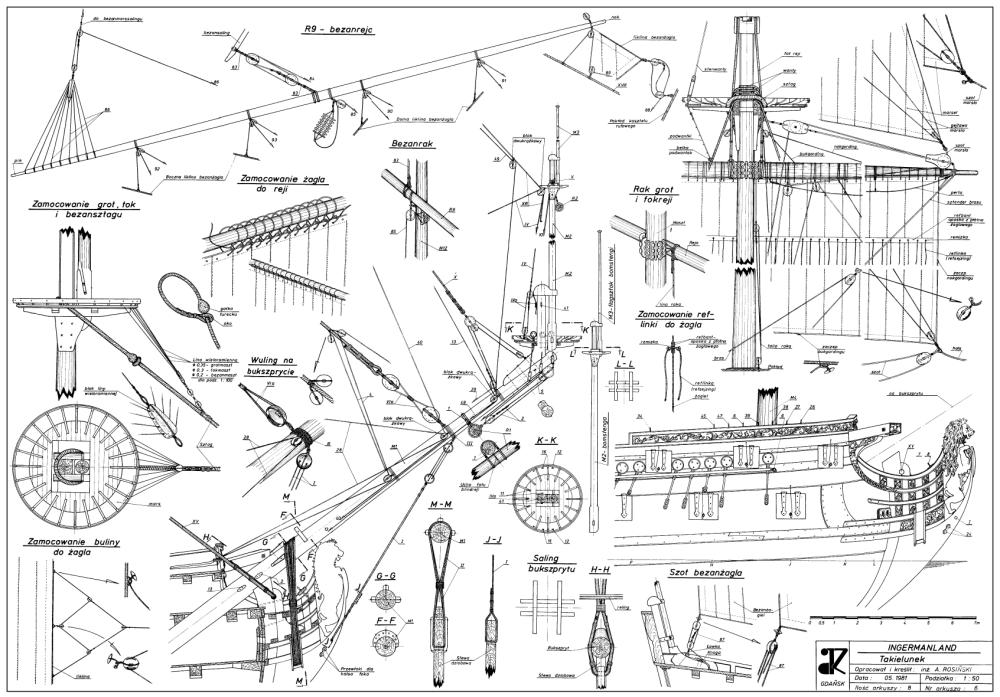 Узлы проводки такелажа, оснащените бушприта, носовая оконечность корабля Ингерманланд