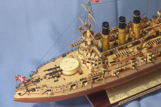 Модель броненосца Ретвизан - общий вид спереди.