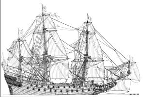 Чертёж готовой модели корабля Vasa