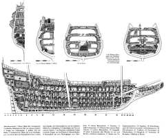 Чертёж модели корабля Vasa ручной работы