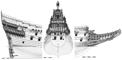 Чертёж авторской модели корабля Vasa