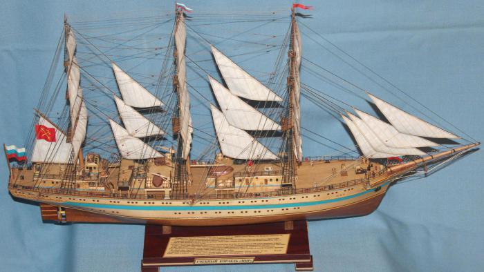 Модель учебного судна `Мир`. Оборудование.