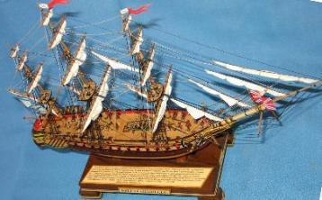 Модель корабля фрегат Паллада. Паруса.