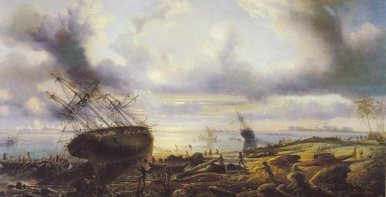 Килевание корабля на берегу