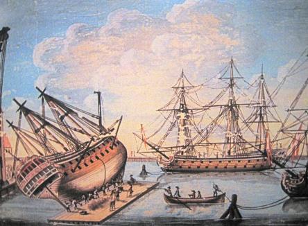 Килевание судна на понтоне