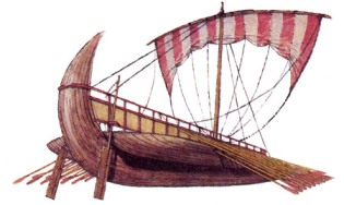 рулевые вёсла модели финикийского корабля