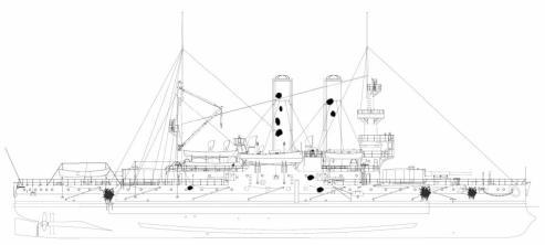 Схема повреждений броненосца Адмирал Ушаков, 13