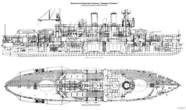 Чертёж броненосца Адмирал Сенявин, 2