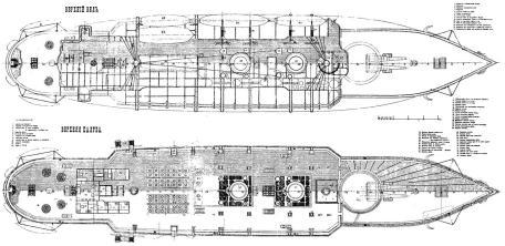 Чертёж броненосца Император Александр 2, 4