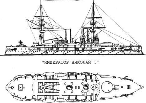 Чертёж броненосца Император Николай 1,