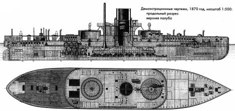 Чертёж броненосца Пётр Великий