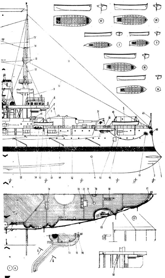 Чертёж модели корабля Потёмкин. Общий вид. нос