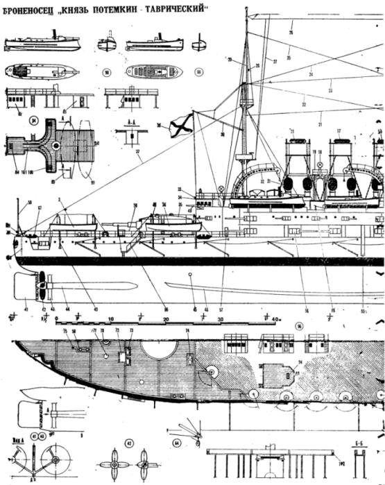 Чертёж модели корабля Потёмкин. Общий вид. Корма