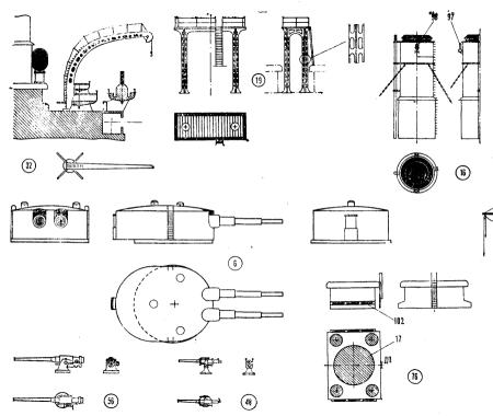 Чертёж модели броненосца Потёмкин. Детали