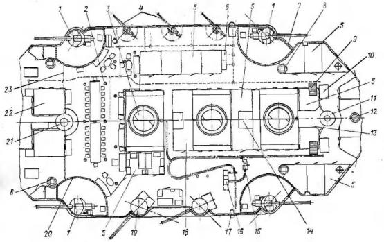 Чертёж модели корабля ЭБР Потёмкин. Спардек.