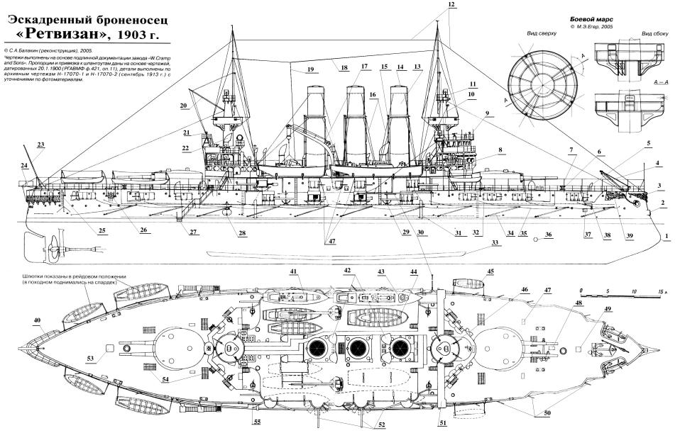 Чертёж модели броненосца Ретвизан. Общий вид.