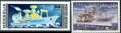 Марки Монголии и Кубы судна Космонавт Юрий Гагарин