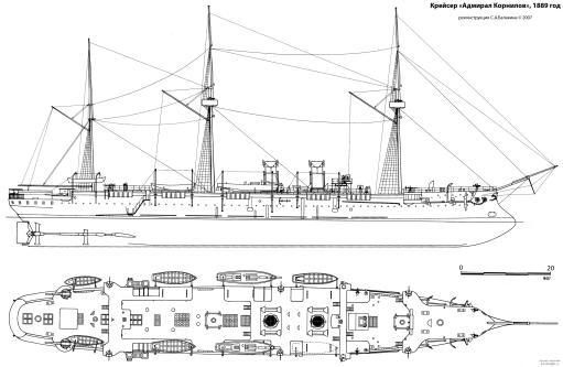 Чертёж корабля Адмирал Корнилов.