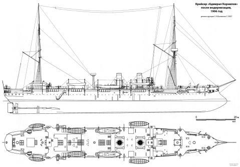 крейсер Адмирал Корнилов после модернизации. чертеж