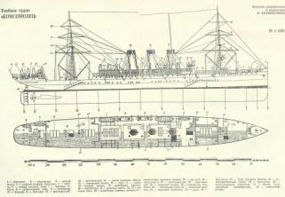 Чертёж модели учебного корабля Комсомолец