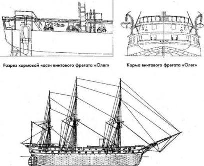 Чертёж модели парового фрегата Олег