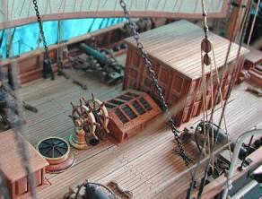Модель пароходо-фрегата Владимир ручной работы, шканцы