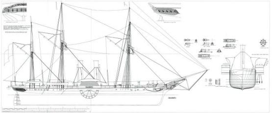 Чертежи модели пароходо-фрегата Владимир, Общий вид