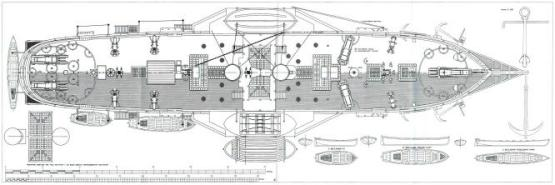 Чертежи модели пароходо-фрегата Владимир, палуба
