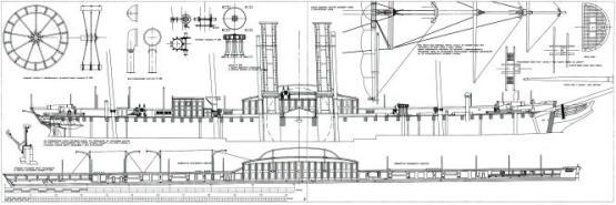 Чертежи модели пароходо-фрегата Владимир, борт
