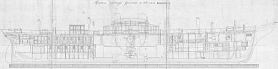 Чертежи пароходо-фрегата Владимир, разрез