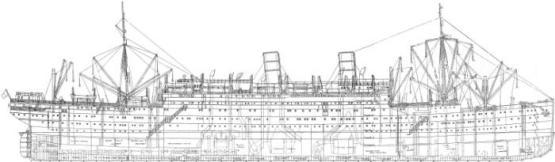 Чертёж модели парохода Адмирал Нахимов.
