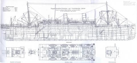 Чертёж модели парохода Адмирал Нахимов. 1
