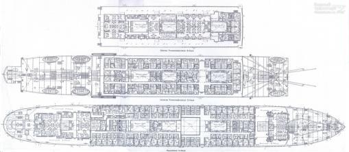 Чертёж модели парохода Адмирал Нахимов. 3