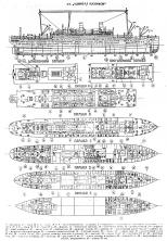 Чертёж модели парохода Адмирал Нахимов.  компоновочная схема