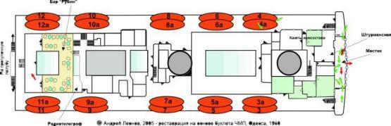 Чертёж модели парохода Адмирал Нахимов. план палубы 1