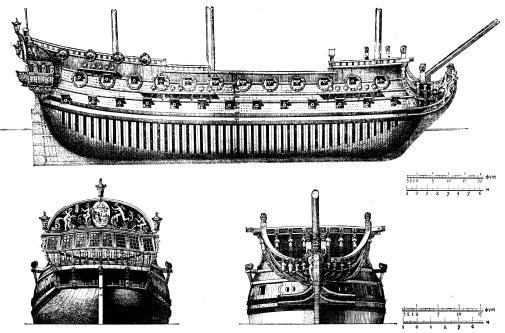 Чертёж модели корабля  Гото Предестинация, борт