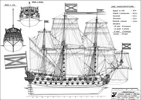 Чертёж модели корабля  Гото Предестинация