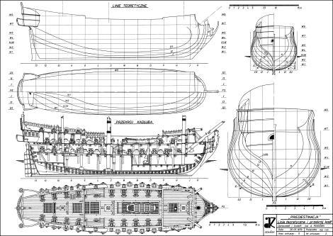 Чертёж модели корабля  Гото Предестинация разрез