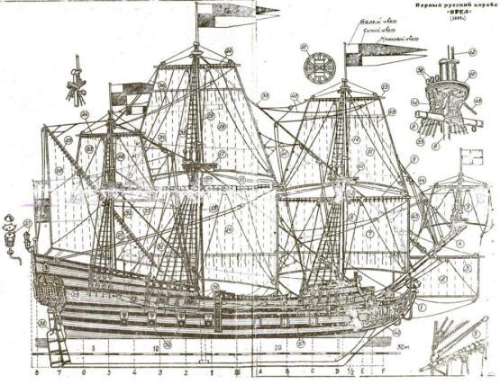 Чертёж общего вида парусного корабля Орёл