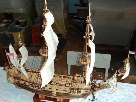 Авторская модель фрегата Петр и Павел. общий вид