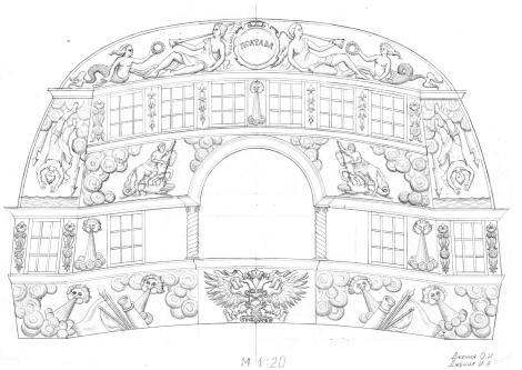 Чертёж модели корабля Полтава. гакаборт