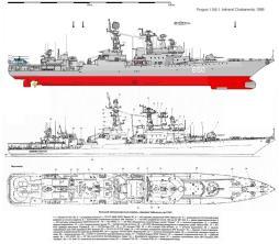 Чертёж модели корабля Адмирал Чабаненко