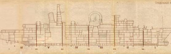 Чертёж модели корабля проекта 1155 1914 Маршал Крылов. Разрез КИК