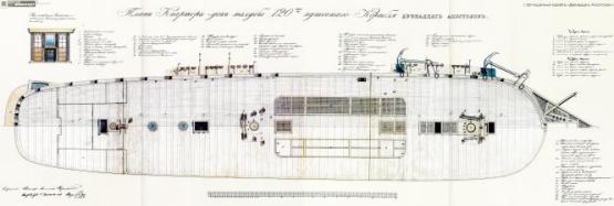 Чертёж модели корабля Двенадцать Апостолов. План общий