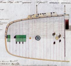 Чертёж модели корабля Двенадцать Апостолов. План юта