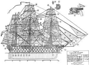 Чертёж модели корабля Двенадцать Апостолов. общий вид