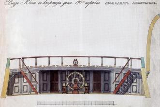 Чертёж модели корабля Двенадцать Апостолов. вид на ют