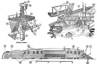 Чертёж модели корабля Двенадцать Апостолов. ют и план палубы