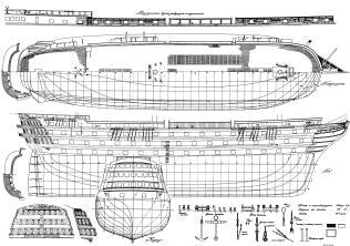 Чертёж модели корабля Двенадцать Апостолов. корпус