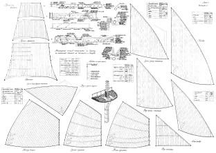 Чертёж модели корабля Двенадцать Апостолов. паруса 2